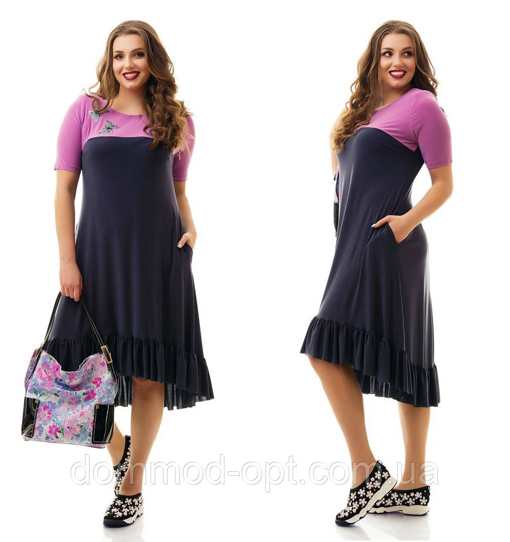 b200895cb4b Женское повседневное трикотажное платье больших размеров №865 48-62 ...