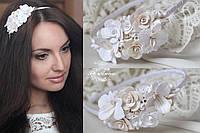 """Красивый ободок для волос """"Розы с орхидеями"""", фото 1"""