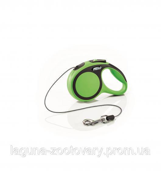 Автоматический поводок - рулетка ФЛЕКСИ НЬЮ КОМФОРТ для собак до 8кг, XS, трос 3м, зеленый