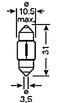 Светодиодная лампа в подсветку салона и номерного знака с цоколем SV8,5(C5W)-31mm-1210-Белый, фото 2
