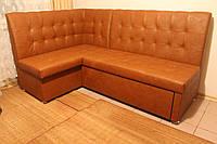 Мягкий уголок для кухни со спальным местом и ящиком (кирпичный), фото 1