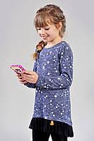 Стильная детская кофта-туника прямого кроя с принтом звездочки и фатином по низу