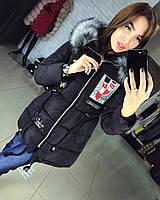 Молодежная женская куртка с нашивками черная