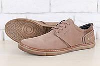 Туфли мужские, цвета латте, из натурального нубука, с кожаными вставками, на шнурках