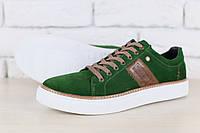 Кеды мужские, зеленые, из натуральной замши, с кожаными вставками коричневого цвета, на белой подошве