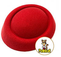 Основа-заготовка для шляпки, вуалетки таблетка из фетра Красная 16 см