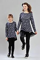 Модная туника для девочки, черного цвета с принтом звездочки и фатином по низу