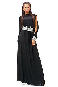 """Элегантное черное платье в пол """"Рукав Кружево"""" (44-Фаворитка)"""