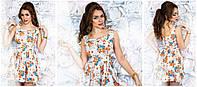 """Джинсовое короткое платье с принтом """"цветы"""" юбка клёш  Арт.-5078/43"""