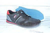 Кожаные демисезонные кроссовки N80 черные