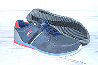 Кожаные демисезонные кроссовки N80 синие