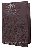 """Обложка для паспорта VIP (антик темный шоколад) тиснение """"IRIS"""""""