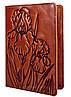 """Обложка для паспорта VIP (хамелеон коричневый) тиснение """"IRIS"""""""