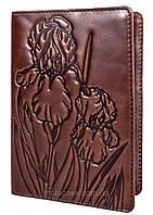 """Обложка для паспорта VIP (хамелеон каштановый) тиснение """"IRIS"""", фото 1"""