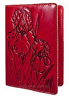 """Обложка для паспорта VIP (хамелеон красный) тиснение """"IRIS"""", фото 1"""