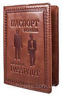"""Обложка для паспорта VIP (хамелеон коричневый) тиснение """"GENTLMEN"""", фото 1"""