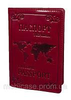 """Обложка для паспорта VIP (хамелеон красный) тиснение """"WORLD"""", фото 1"""