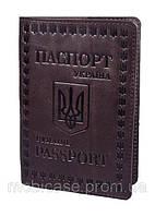 """Обложка для паспорта VIP (хамелеон каштановый) тиснение """"UKRAINE"""", фото 1"""