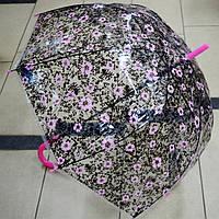 Зонт женский прозрачный цветы, фото 1