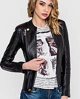 Черная женская кожаная куртка | 7019 sk