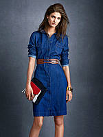 Джинсовое женское платье с воротничком