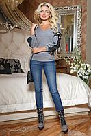 Женская ангоровая кофточка с кружевом серая