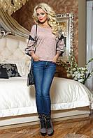 Женская кфточка ангора с длинным рукавом декорированна кружевом персиковая
