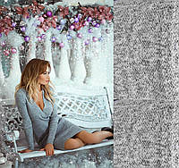 Женское платье с ангоры, длинный рукав, декольте на запах, серое