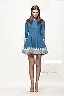 Джинсовое женское платье с ажуром