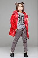 Демисезонная детская удлиненная куртка в ярких цветах.