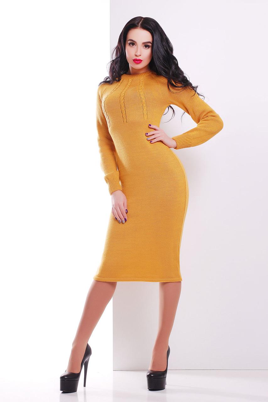 Вязаное облегающее платье миди 44-48 размер