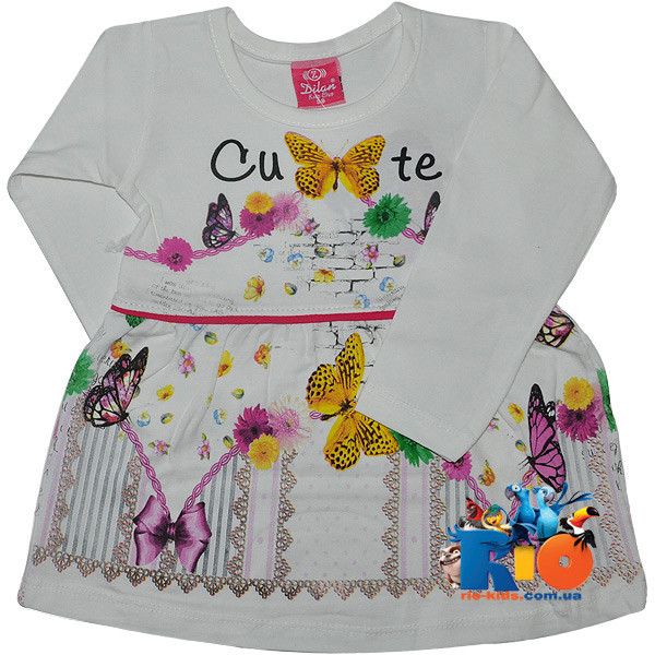 """Детское трикотажное платье с ярким принтом """"Cute Butterflies""""  для девочек (рост 98-116 см)"""