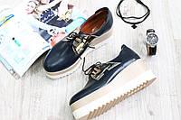 Кожаные туфли криперсы на шнурках