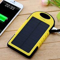 Внешний солнечный аккумулятор для телефона +Фонарик. Желтый Solar Powerbank 20000 mAh