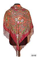 Платок шерстяной с турецким орнаментом бордовый, фото 1