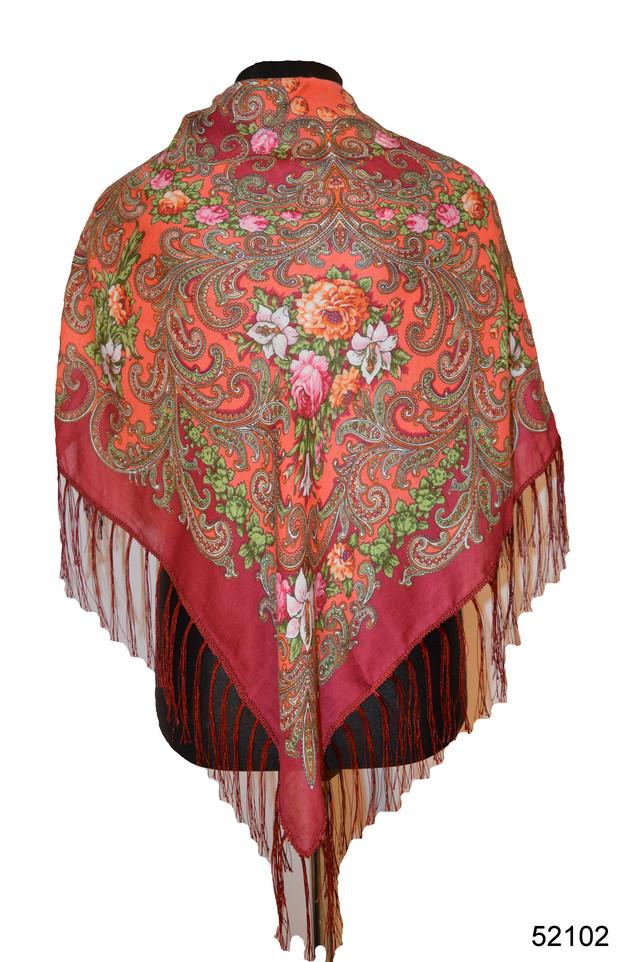 Платок шерстяной с турецким орнаментом бордовый 1