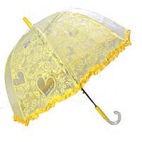 Зонт детский грибочек прозрачный сердце желтый
