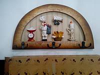 Вешалка сувенир ПОВАР с 3 металлическими крючками, ключница 3 крючка
