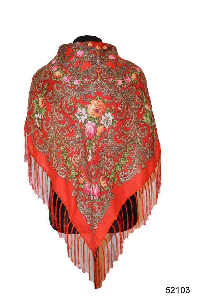 Платок шерстяной с турецким орнаментом красный 1