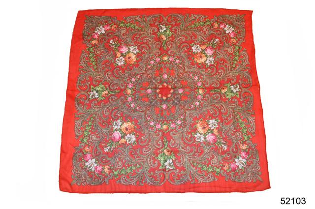 Платок шерстяной с турецким орнаментом красный 2