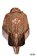 Платок шерстяной с турецким орнаментом коричневый, фото 1