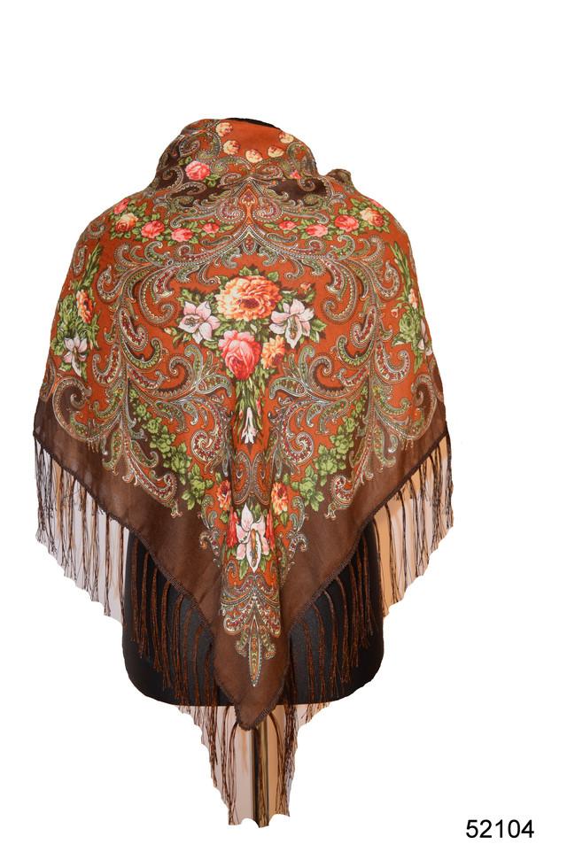 Платок шерстяной с турецким орнаментом коричневый 1