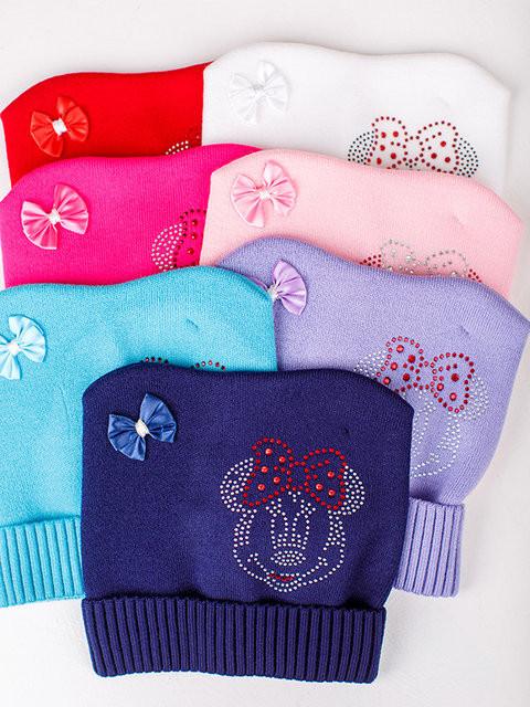 Детская шапка Микки Для девочек, Ушки, Белый
