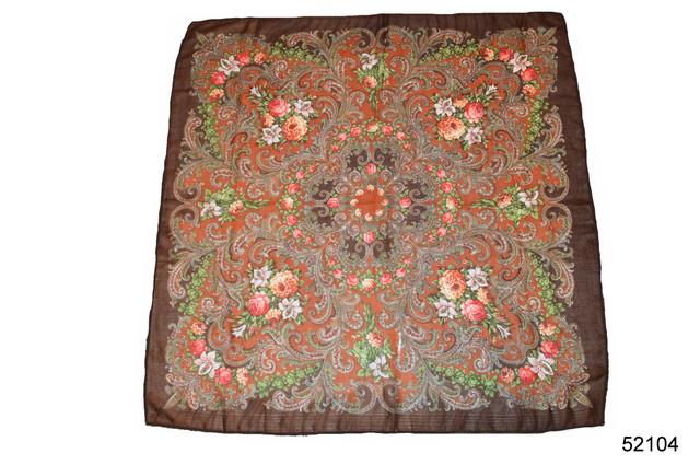 Платок шерстяной с турецким орнаментом коричневый 2