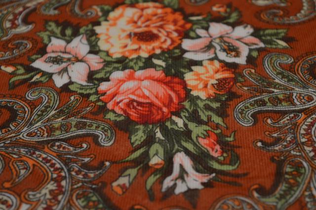 Платок шерстяной с турецким орнаментом коричневый 3