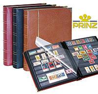 Альбом для марок Prinz Royal 60 страниц -  натуральная кожа - чёрная обложка