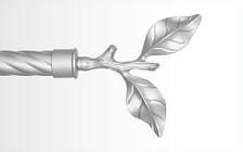 Декоративный наконечник Лист розы для кованого карниза 25 мм.
