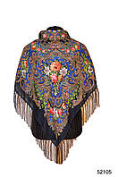 Платок шерстяной с турецким орнаментом синий