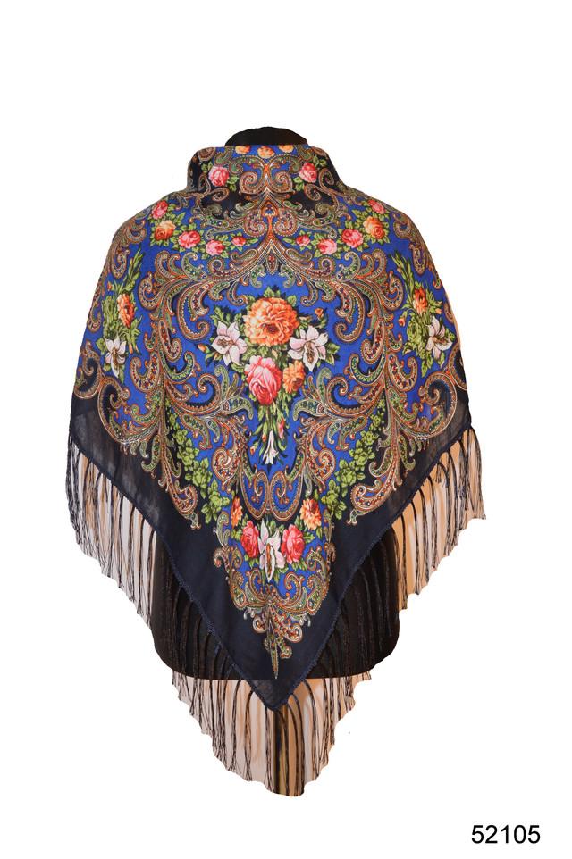 Платок шерстяной с турецким орнаментом синий 1