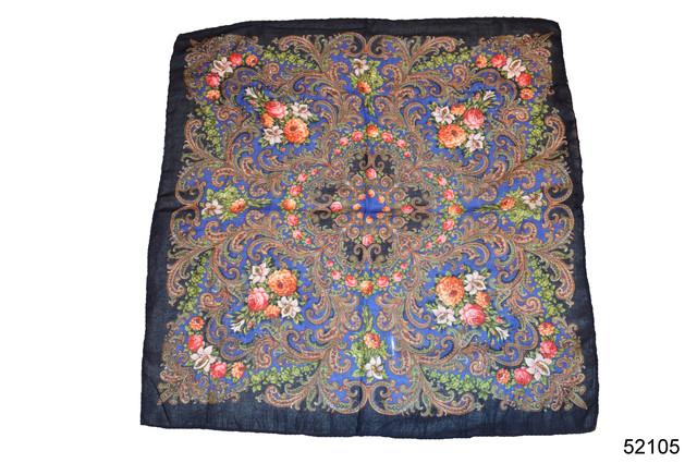 Платок шерстяной с турецким орнаментом синий 2